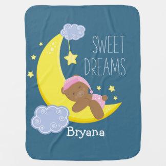 Teddy Bear Moon Stars Celestial Girls Baby Blanket