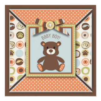 "Teddy Bear & Novelty Dot Print Baby Shower 5.25"" Square Invitation Card"