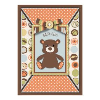 Teddy Bear Novelty Dot Print Baby Shower Invite