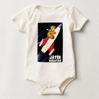 Teddy Bear On A Rocket Vintage Hungarian Toy Fair Baby Bodysuit