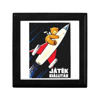 Teddy Bear On A Rocket Vintage Hungarian Toy Fair Gift Box