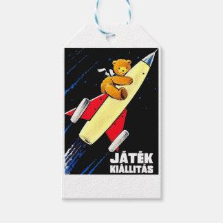Teddy Bear On A Rocket Vintage Hungarian Toy Fair Gift Tags