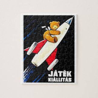 Teddy Bear On A Rocket Vintage Hungarian Toy Fair Jigsaw Puzzle