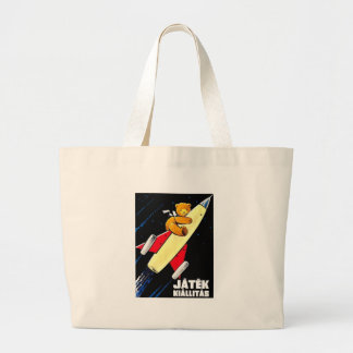 Teddy Bear On A Rocket Vintage Hungarian Toy Fair Large Tote Bag