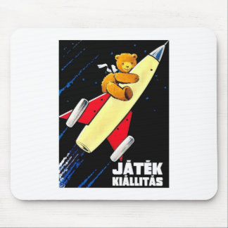 Teddy Bear On A Rocket Vintage Hungarian Toy Fair Mouse Pad