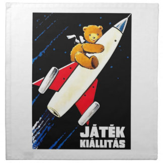 Teddy Bear On A Rocket Vintage Hungarian Toy Fair Napkin