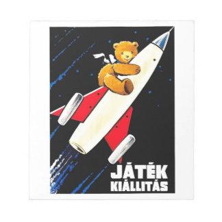 Teddy Bear On A Rocket Vintage Hungarian Toy Fair Notepad