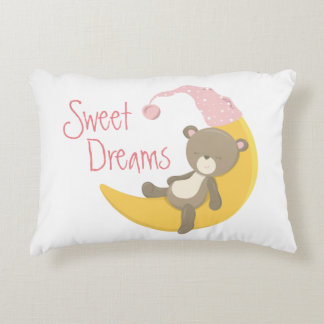 Teddy Bear on Crescent Moon Nursery Decorative Pillow