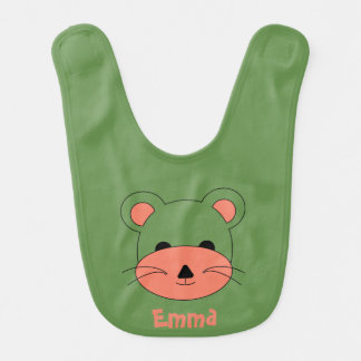 Teddy Bear on  green background Bib