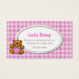 Teddy Bear on Pink Plaid Play Date Card