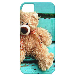 Teddy bear on turquoise background iPhone 5 covers
