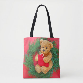 Teddy bear on wreath with stocking tote bag