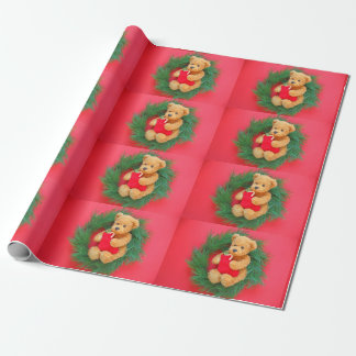 Teddy bear on wreath with stocking wrapping paper