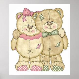 Teddy Bear Pair - Original Colors Poster