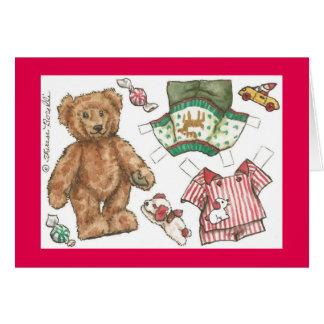 Teddy Bear Paper Doll Christmas Card