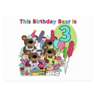 Teddy Bear Party 3rd Birthday Tshirts and Gifts Postcard