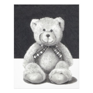 TEDDY BEAR: PENCIL ART: REALISM LETTERHEAD TEMPLATE