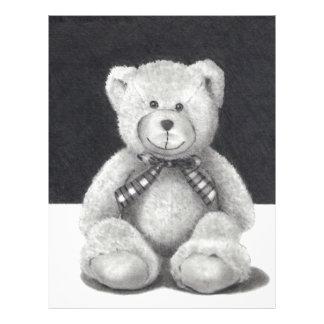 TEDDY BEAR: PENCIL ART: REALISM LETTERHEAD TEMPLATE