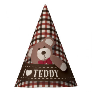 Teddy Bear Picnic Birthday -Brown and Red Gingham Party Hat