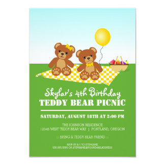 "Teddy Bear Picnic Birthday Party 5"" X 7"" Invitation Card"