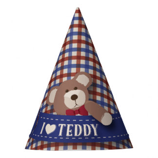 Teddy Bear Picnic Birthday -Red and Blue Gingham Party Hat