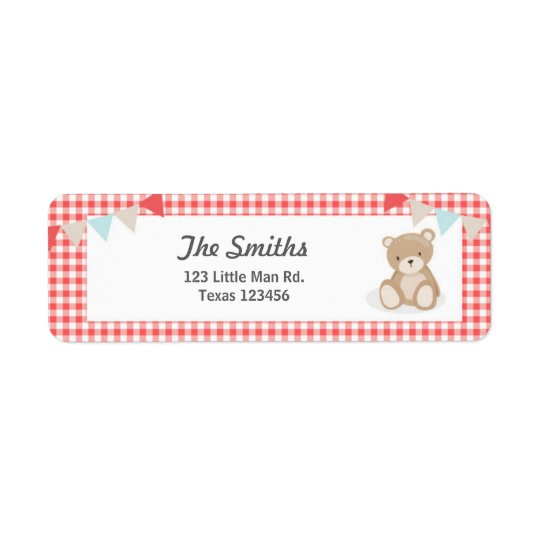 Teddy Bear Picnic Return Address Label Red blue