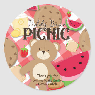 Teddy Bear Picnic Summer Birthday Party Favor Classic Round Sticker