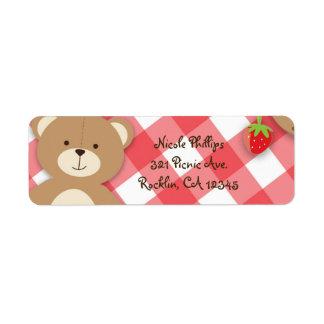Teddy Bear Picnic Summer Birthday Party Invitation Return Address Label