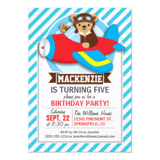 Teddy Bear Pilot in Red Toy Airplane; Blue Stripes Custom Invitation Cards