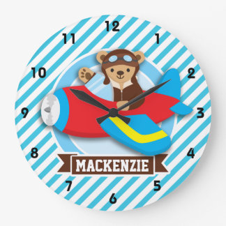 Teddy Bear Pilot in Red Toy Airplane; Blue Stripes Large Clock