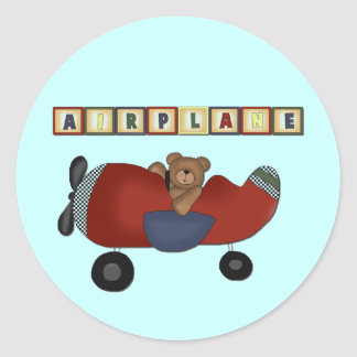 Teddy Bear Pilot Tshirts and Gifts Classic Round Sticker