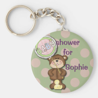 Teddy Bear Pink and Green Basic Round Button Keychain