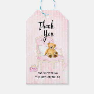 Teddy Bear Pink Girl Baby Shower Gift Tag
