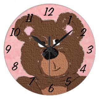 Teddy Bear (pink) Large Clock