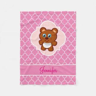 Teddy Bear Pink Quatrefoil with Name Fleece Blanket