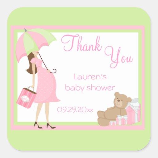 Teddy Bear Pink Shopper Baby Shower Stickers