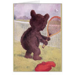 Teddy Bear Playing Tennis Greeting Card