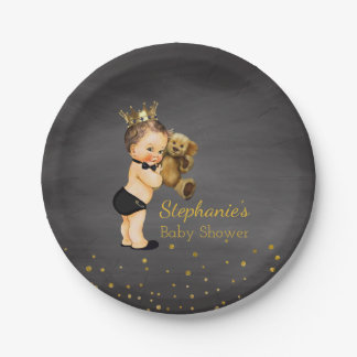Teddy Bear Prince Baby Boy Shower | Chalkboard Paper Plate