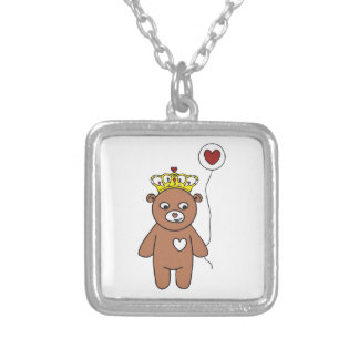 teddy bear queen silver plated necklace