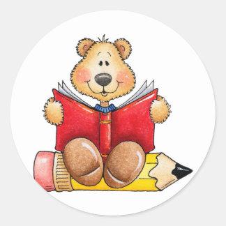 Teddy Bear Reading Classic Round Sticker