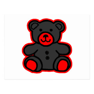 Teddy Bear Red Black jGibney The MUSEUM Zazzle Postcard