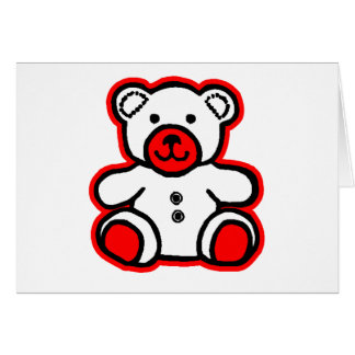 Teddy Bear Red White jGibney The MUSEUM Zazzle Greeting Card