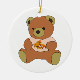 Teddy Bear Round Ceramic Ornament