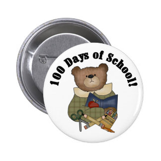Teddy Bear School 100 Days 2 Inch Round Button
