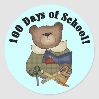 Teddy Bear School 100 Days Tshirts and Gifts Round Sticker