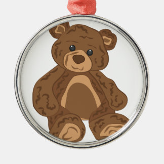 Teddy Bear Silver-Colored Round Ornament