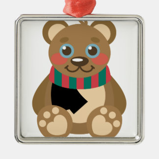 Teddy Bear Silver-Colored Square Ornament