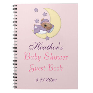 Teddy Bear Sleeping on the Moon, Baby Shower Notebook