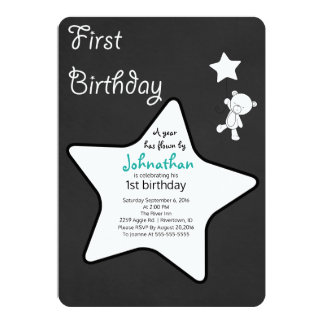 Teddy Bear & Star Balloon Floating First Birthday Card