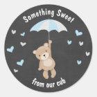 Teddy bear Sticker favour tag woodland Boy Blue